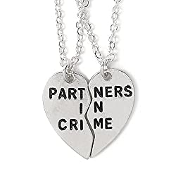 Jewelleryjoy Broken Heart 2 Piece Best Friends Fashion Women Men Gifts Friendship Couple Silver Tone Alloy Pendant Necklace Friendship Necklace For 2 (Partners In Crime On Chain)