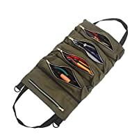 Super Tool Roll Bag,Canvas Large Wrench Roll,Zipper Tool Organizer Bucket,Car Camping Gear,Car First Aid Kit Wrap Roll Storage Case.(Khaki/ArmyGreen/Black)