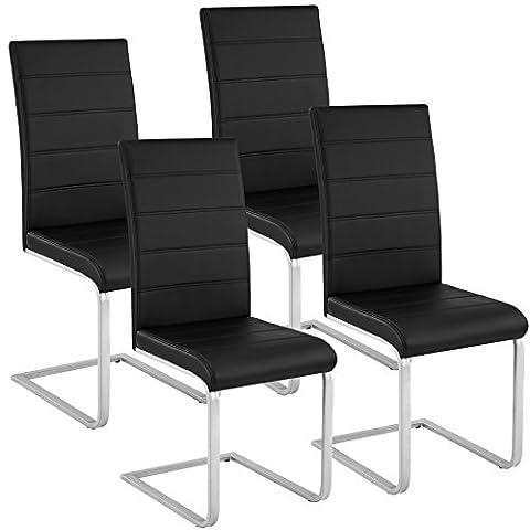 TecTake Lot de 4 Chaise de Salle à Manger Chaise Cantilever | Cuir Synthétique - diverses couleurs et modèles au choix - (4x noir | No. 402553)
