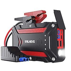 Auto Starthilfe, Akku Starthilfe Powerbank 1200A Wasserdichter Jump Starter für 7, 5L Benzin oder 6L Dieselmotor, Autobatterie Anlasser mit QC 3.0, USB & LED Taschenlampe
