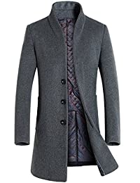 Yasong Men Single Breasted Wool Coat Trench Coat Pea Coat