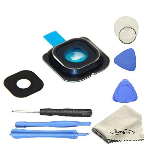 EWPARTS for Samsung galaxy S6 edge Hinter Kamera abdeckung Kamera Objektiv Abdeckung Ringe Glas + Aufklebers + Werkzeuge + Reinigungstuch (schwarz/blau)