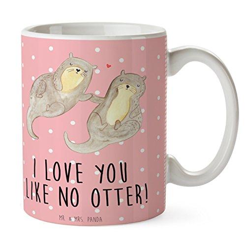 Mr. & Mrs. Panda Tasse Otter händchenhaltend - 100% handmade in Norddeutschland - Schenken, Tasse,...