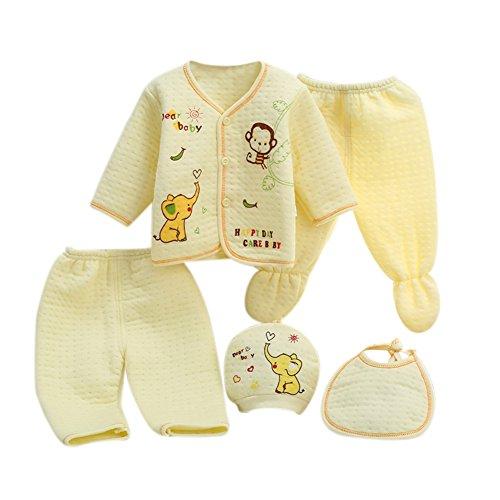 Neugeborenes Baby 5er Baumwolle Kleidung Set Essentials Bundle Caring Geschenk (Hut + Bib + Pyjamas Anzug + Hosen) 0-3 Monate (Herr Bundles Kostüm)