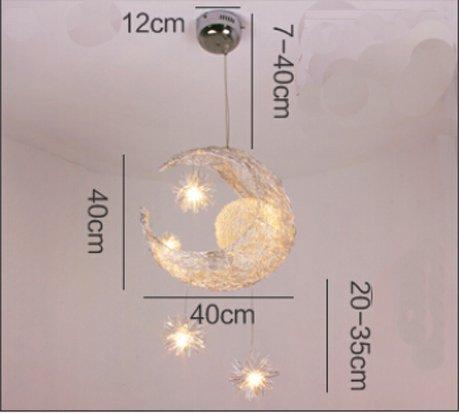 Lonfenner lampada a sospensione/plafoniera con luna e stelle, per la cameretta dei bambini/soggiorno - 7
