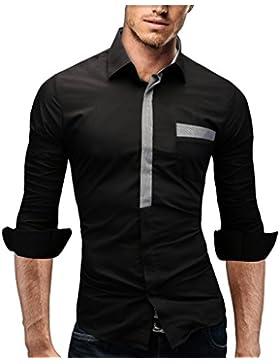 Merish Camicia Uomo Slim Fit, manica lunga, moderni,Tasca sul petto contrasto, adatto per tutte le occasioni,casual...