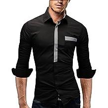 Merish Camicia Uomo Slim Fit, manica lunga, moderni,Tasca sul petto contrasto, adatto per tutte le occasioni,casual e chic, diversi Colori Taglia S - XXL Modell 94