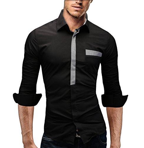 Merish camicia uomo slim fit, manica lunga, moderni,tasca sul petto contrasto, adatto per tutte le occasioni,casual e chic, diversi colori taglia s - xxl modell 94 nero m