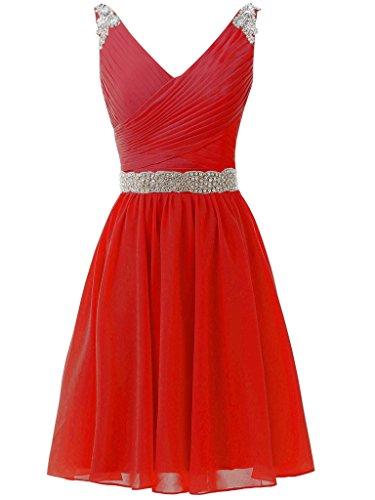 f32fca320cf61 Solovedress Women's Short Bridesmaid Dress Prom Dress Chiffon Beaded  Homecoming Dress Evening Gown (Red,UK6)