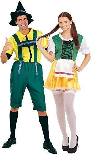 Fancy Me Paar Herren & Damen Deutsche Bier Oktoberfest Fest International Traditionell Bayrisch Kostüm Verkleidung Outfit (Bier Outfits Deutsches)