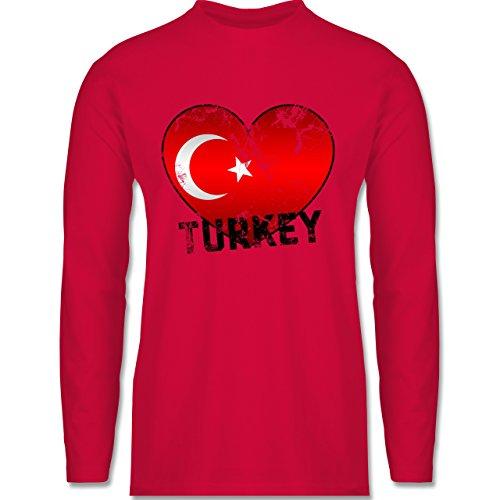 Shirtracer Länder - Turkey Herz Vintage - Herren Langarmshirt Rot