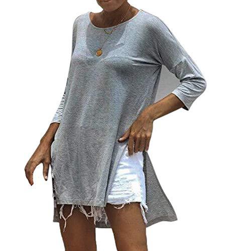 Ronamick Camisetas Gatos Mujer Encaje Sexy Blusa Nochevieja Mujer Tops Niña 12 Años Encaje Sexy Camisa Azul (Gris,L)
