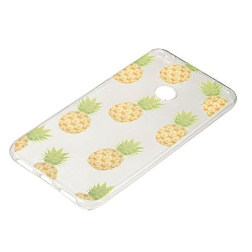 Coque Huawei P8 Lite 2017,Coque en Soft Silicone TPU Transparente pour Huawei Honor 8 Lite,Ekakashop Ultra Slim-fit Jolie Fille Robe Blanc Dessin Antidérapant Coque de Protection TPU Flexible Souple C Ananas