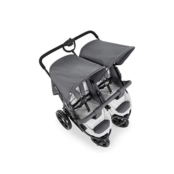 Hauck Roadster Duo SLX Double Pushchair, Grey/Silver, 14 kg Hauck Twin and sibling stroller suitable for two children or new-borns by combining it with the separately available hauck 2 in 1 carrycot, this pushchair holds 2 x 15 kg Fits through doors despite the children sitting side by side, roadster duo slx fits through doors and elevators as it measures 76 cm only Comfy both backrest and footrest come with sun hood, as well as large shopping baskets and are individually adjustable up to lying position; the pushchair is easy to fold away with one hand 10