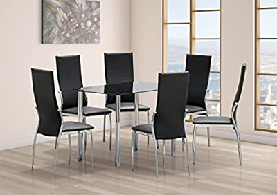 Dining Set 6 Chairs Black Glass Table Top with Chrome Legs Kitchen