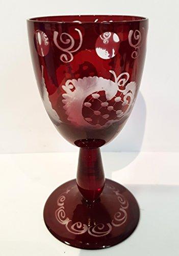 Egermann Weinglas antik, geschliffen Sherry Glas Böhmisches Glas rubin rot Antik Glas Sammler Glas...