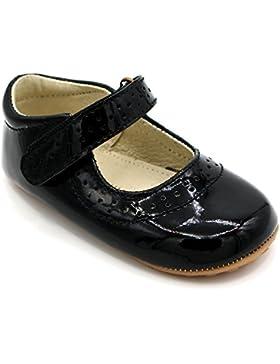 [Patrocinado]Zapatos para bebé en cuero de lujo para fiestas, bodas y ocasiones especiales. Cuero en negro. Primeros pasos,...