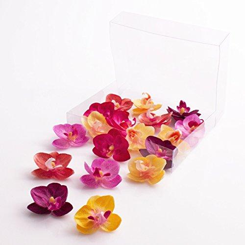 Künstliche Mini Orchideenblüten Phalaenopsis, rosa-violett-gelb, 18 Stück in der Box - Kunstblüten - artplants