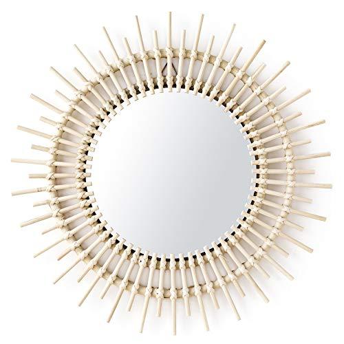 Kenay Home Saule Espejo Pared Decorativo, Ratán, 50x2x50 cm Largo x Ancho x Alto