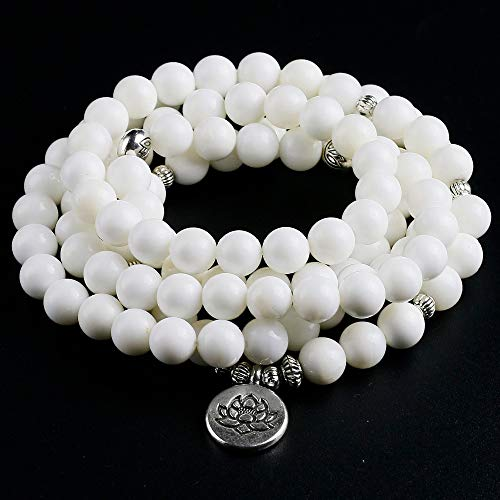 YCWDCS Armband Frauen Männer Weiße Muschel Perlen Armband Gebet Yoga Meditation Handgemachte Meditation Heilung Schmuck Liebhaber Geschenk (Halloween-tag Die Gebet Für)