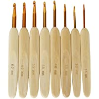 Sonline 8 tamanos bambu mango, conductores de aluminio agujas de ganchillo de 2,5 mm-6 mm