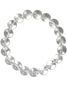 Kaltner Präsente Geschenkidee - Power Armband mit Perlen aus dem Edelstein Bergkristall (Stretch Band) im Samt...