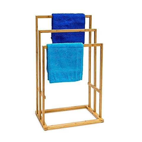 Relaxdays Bambus Handtuchhalter als Handtuchständer mit 3 Armen treppenförmig angerichtet
