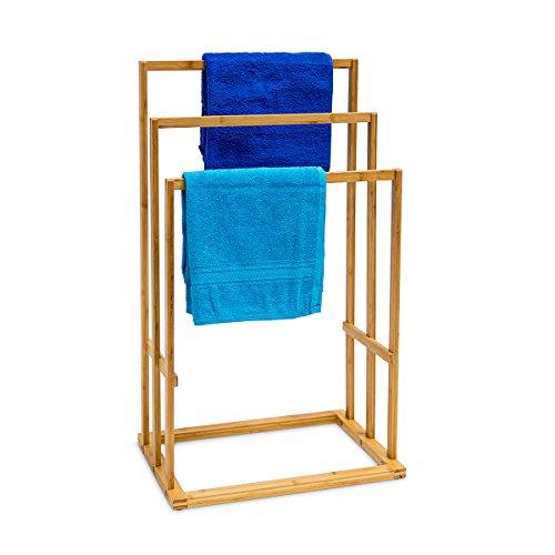 Relaxdays Bambus Handtuchhalter als Handtuchständer mit 3 Armen treppenförmig angerichtet H x B x T: ca. 82 x 43 x 30 cm und Stangen für Handtücher zum Aufhängen als praktisches Badaccessoire, natur