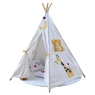 WYFDM Tipi Zelt für Kinder, Faltbares Spielzelt 4 Holzstangen Canvas Tipi Innentasche, einzigartiges Verstärkungsteil Spielzeug für Kinder Spielhaus Burg Indoor Outdoor für Mädchen & Jungen