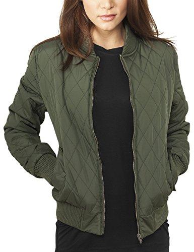 Urban Classics Damen Jacke Ladies Diamond Quilt Nylon Jacket, Grün (Olive 176), 36 (Herstellergröße: S)
