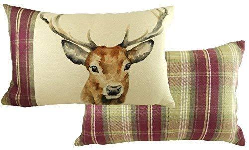 Evans Lichfield Highland Heidekraut Hirsch Reh handbemalt Tiere groß Boudoir Kissenbezug 40 x 60cm -