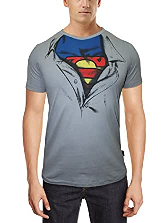 Superman Men's T-Shirt (8903346283200_Grey violet_S)