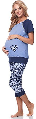 Be Mammy Damen Umstands Pyjama mit Stillfunktion BE20-190 (Herzen-blau, XXL) -