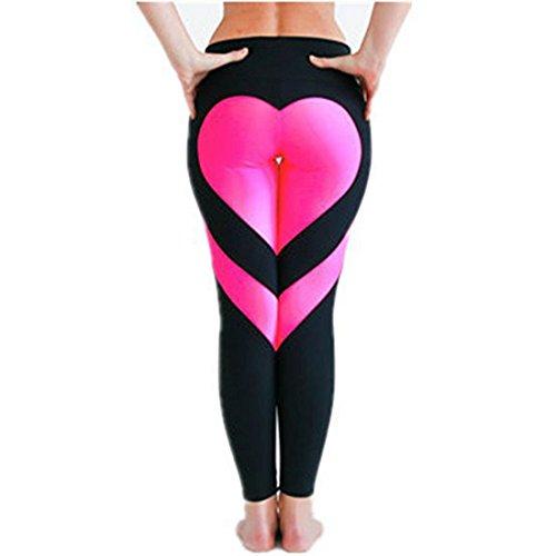 Wenyujh Femmes Legging Pantalon de Sport avec Cœur Derrière Fashion Pantalon Skinny Respirant Séchage Rapide Yoga Gym Fitness Noir et rose