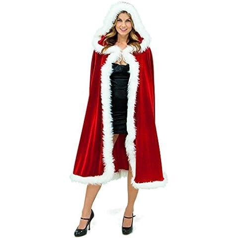 OverDose Terciopelo rojo con capucha de Navidad Capa de las mujeres de lujo del traje de la moda de Nueva Tippet