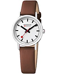 Mondaine Men's Classic 36 mm Watch with Stainless Steel polished Case white Dial and brown leather strap Strap A660.30314.11SBG
