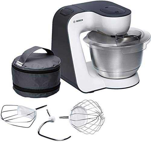 Bosch MUM54A00 900W 3.9L Negro, Plata, Color blanco - Robot de cocina (3,9 L, Negro, Plata, Blanco, 1,1 m, 900 W, 200-240, 50-60)