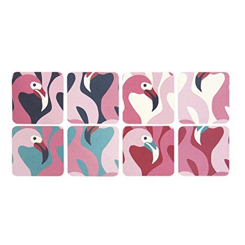 Pink Flamingo Untersetzer für Getränke-Set von 8Glas Cup Halter Kaffee Tasse Tischset Untersetzer Art Funky Cool Flamingos Birds Geschenk von CKB Ltd® -