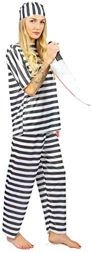 Nick and Ben Häftling Sträfling Set | Kostüm + Messer | 2-TLG. für Männer, Frauen & Kinder für Karneval | schwarz, weiß | Einheitsgröße