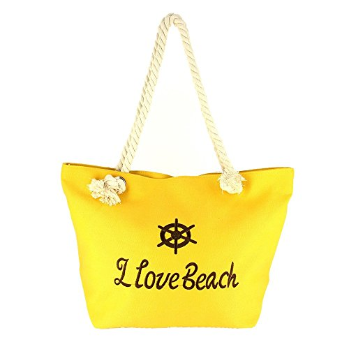 Ideal Shoes–Borsa da spiaggia in tela classica Calia Giallo