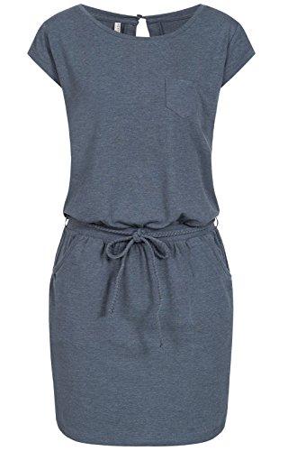 Fresh Made Damen Jersey Kleid LFM-141 kurz, kleiner Rücken-Ausschnitt, inkl. Binde-Gürtel dark blue M