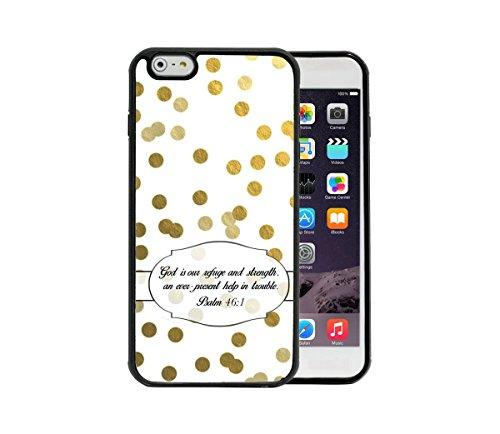 Psalm 46:1 Religiöse Bibelvers Gold und Weiß Shabby Chic Polka Dots Apple iPhone 6/6S Plus 5.5 Gummi TPU Silikon Handyhülle - passend für iPhone 6 Plus & iPhone 6S Plus -