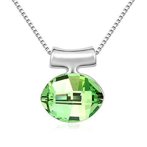 AMDXD Bijoux Plaqué Or Pendentif Colliers pour Femme Ovale Olive 1.8X1.4CM