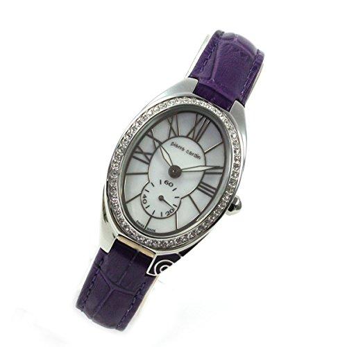 Pierre Cardin Classic Purple brillantes piel ovalada Mujer Reloj Swiss Made pc105992s03
