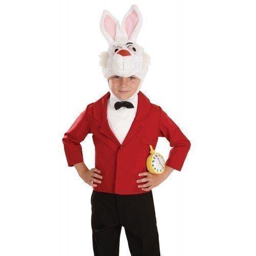 Kinder Jungen Mädchen Weißen Kaninchen Herr Hase Alice im Wunderland Tier Häschen TV Film Comicfigur Büchertag Kostüm Verkleiden Outfit - Weiß, Weiß, 6-8 years (Alice Im Wunderland-kostüme Für Jungen)
