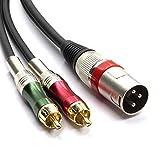 SiYear Y-Splitterkabel (XLR-Stecker auf 2 x Cinch-Stecker, 1 x XLR-Stecker auf 2 x Cinch-Stecker, Stereo-Audio-Kabelstecker, 1,5 m)