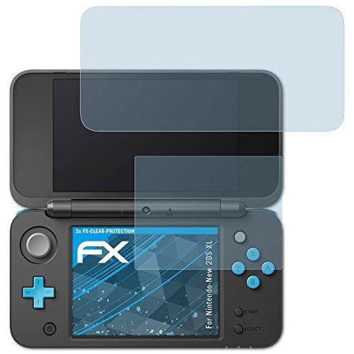 atFoliX Displayschutzfolie für Nintendo New 2DS XL Schutzfolie - 3er Set FX-Clear kristallklare Folie