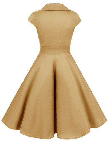 Gardenwed Damen Abendkleider Vintage Cocktailkleid 1950er Retro Sommer V-Ausschnitt Kleid Petticoat Faltenrock Ginger
