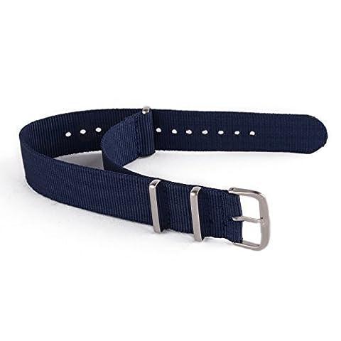 iDealhere Mode Nylon Remplacement Bracelet Montre Boucle Alliage pr Unisexe Sangle (bleu, 20mm)