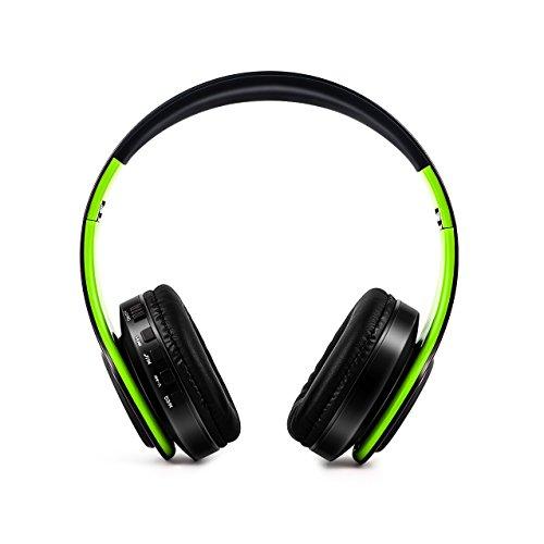 Stereo Gaming Headset, SAZI Sport Kopfhörer Tragbar PC-Headset Wireless Gaming Kopfhörer mit Mikrofon 3.5mm On Ear Surround Sound Ohrhörer (Grün Schwarz)